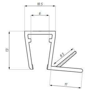 Uszczelka do kabin prysznicowych 6-8 mm ASE