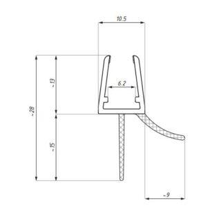 Uszczelka do kabin prysznicowych 6-8 mm BSE