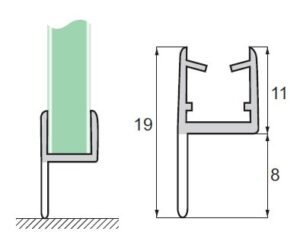 Uszczelka do kabin prysznicowych S-5702 szkło-podłoga